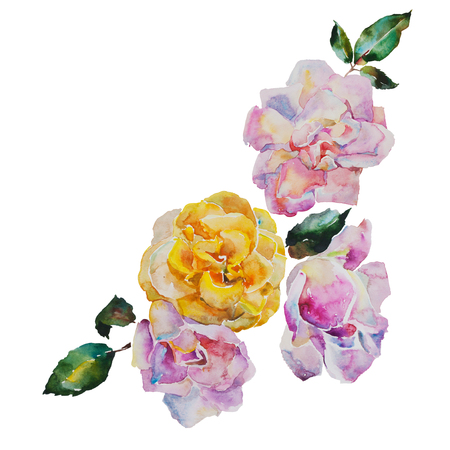 rosy: Corner design bouquet of yellow and light pink roses with leaves, corner watercolor pattern from original art