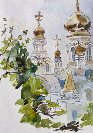 country church: Traditioanl russian rural country landscape with local church in the south of Russia Kuban, original watercolor painting