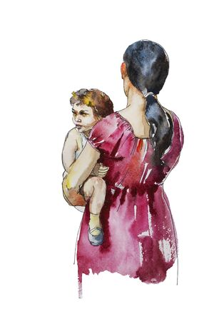 Mother holding her son on her hands, original concept watercolor maternity illustration family feeling on the walk