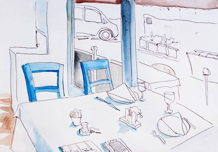 vanish: Interior of small restaurant with big windows original drawing architectural sketch