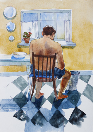 Shirtless domestic man sits back to watcher and peeling the potatoes in the kitchen, original watercolor illustration