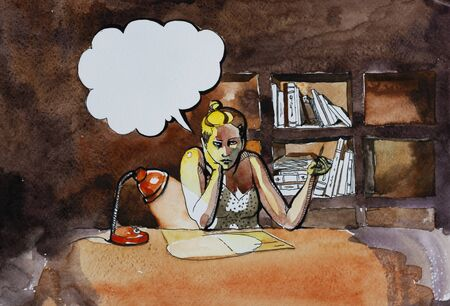 sad woman writed in depressy with empty paper on her desk at night cabinet original concept watercolor illustration in broun and yellow colors