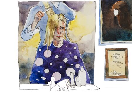 Beautiful blondy woman sitting near the mirror of barbershop when hairdresser make her hairs original watercolor illustration Stock Photo