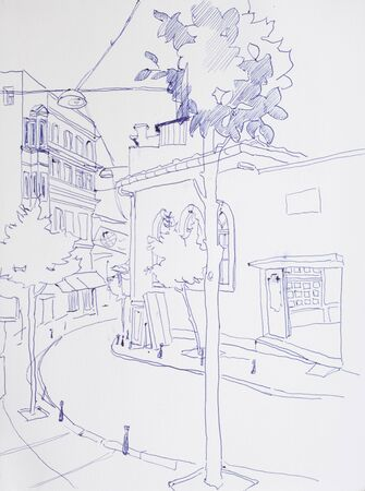 scetch: Old street in Pera District in Istanbul, Turkey, original drawing architectural scetch Stock Photo