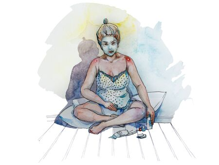 facial painting: Girl making spa at home, green facial mask on her skin and she covering her nails by nail polish sitting on the pillows on the floor original watercolor illustration
