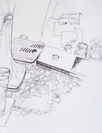 Concept pen illustration of young woman drinking in the bar, her face is reflecting on beer can, bar interior with glasses, washing place and cardholder Stock Photo