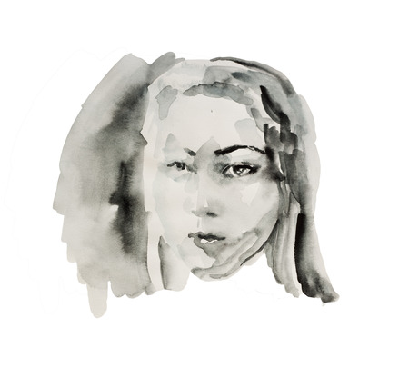 painted face: Wet ink or black watercolor abstract female portrait sketch isolated on white background