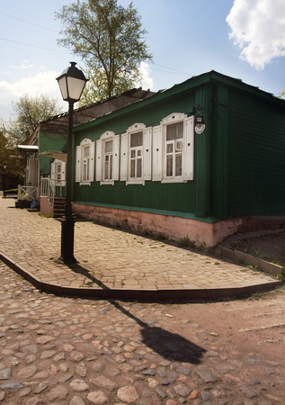 patriarchal: Old wooden house near Krutitsy Metochion orthodox religion complex in Moscow, Russia Stock Photo