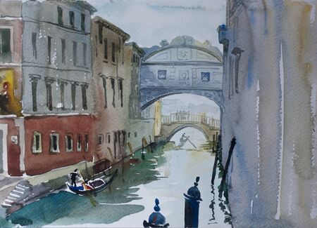 Venice view on Bridge of Sighs Ponte dei Sospiri original watercolor illustration italian painting with gondolas