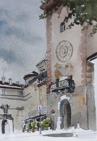 lombardy: Old town alta citta Bergamo historical place, Gate into the tower in Piazza Mascheroni original watercolor painting on paper