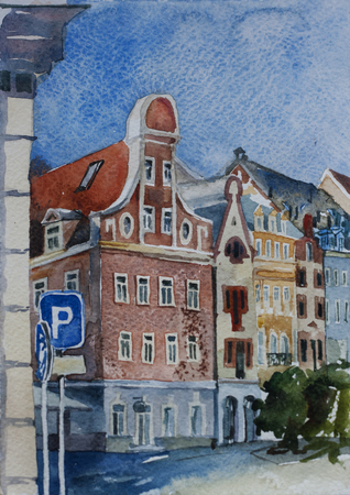 narrow street: Riga downtown sityscape with medieval buildings original travel watercolor illustration Stock Photo