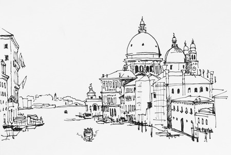 Venice veiw on Grand canal from Academia bridge to Santa Maria della Salute archinectural drawing ink sketch illustration Stock Photo