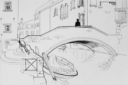 Lonely man in Venice bridge architectural pen sketch illustration