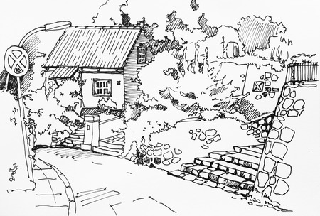 rural house: Rural fisherman house with garden, stone terrace and staircase in Hamburg suburbians, Germany, original ink drawing sketch illustration Stock Photo