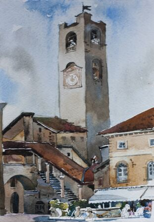 Old city alta citta downtown of Bergamo, Italy, famouse bell tower and architectural ansamble with fountain, original watercolor painting