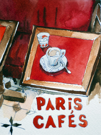 Interior of typical old coffee shop in Patis with red benches and wooden tables with cup of coffee original watercolor painting Stock Photo