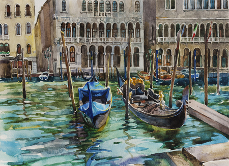 Two gondolas at Grand Canal station near Palazzo Communale, Venice, Italy, original watercolor art painting