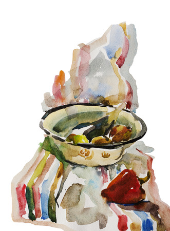 Watercolor still life with eggplant, onion ans red paprika on the yellow bowl on striped blue and red dish-cloth, original painting isolated on white background