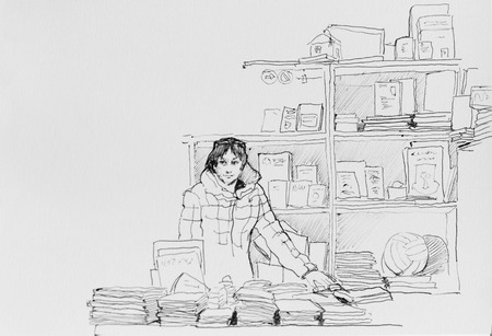 woman reading book: saleswoman in outdoor bookstore with books original pen illustration etching sketch Stock Photo