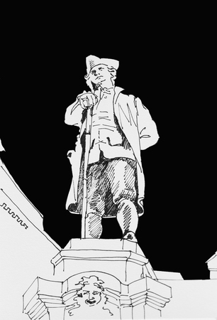 Ink draving of Carlo Goldoni monument in Venice, Italy, original sketch illustration