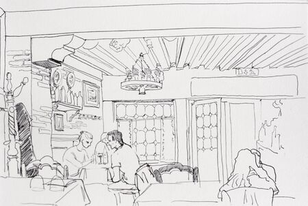 Sad date in old cafe, young couple broke their relationships at the dinner in restaurant  line art drawing