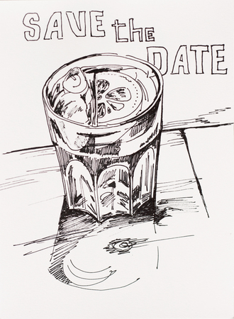 art concept of happy hour spritz cocktail glass lineart sketch with smile and text Save the date Stock Photo