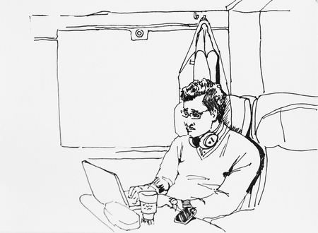 Ink drawing sketch of business man in the train working with his laptop and mobile phone during journey
