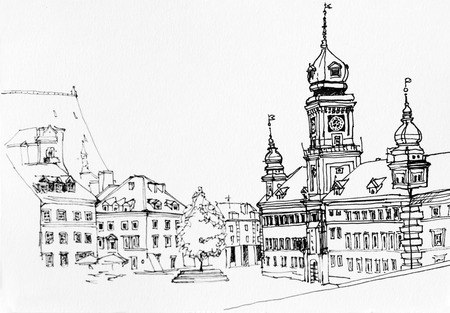 Lineart ink drawing of Warsaw main square landscape, old town view illustration, Poland