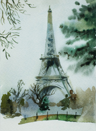 watercolor postcard with Eiffel Tower in Paris, France, view from Trocadero park Stock Photo