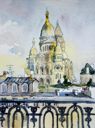 watercolor postcard Sacre Coeur dome from Montmartre balcony, speedpaint art, Paris, France