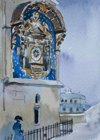 watercolor postcart illustration with medieval clock on Conciergerie prison building with a man in historical dress