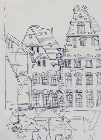 unesco: Medieval market square in Bremen with old baroque buildings into the fest original lineart drawing illustration