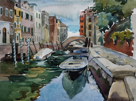 Venetian canal with parked to pavement boats architecture watercolor landscape original illustration
