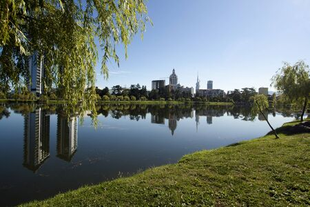 Pionersky park with pond and modern hotels reflection in Batumi , Ajaria, Georgia