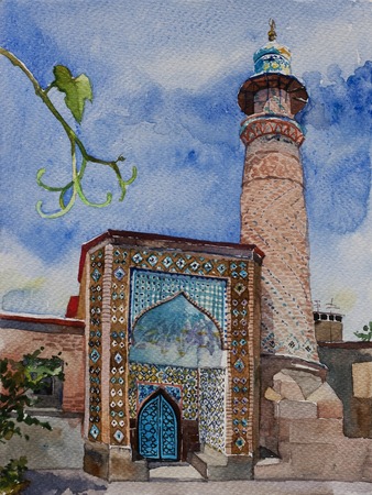 Old Iran mosque in ortodox Yerevan city, gate with minaret tower, Armenia, original watercolor painting landscape