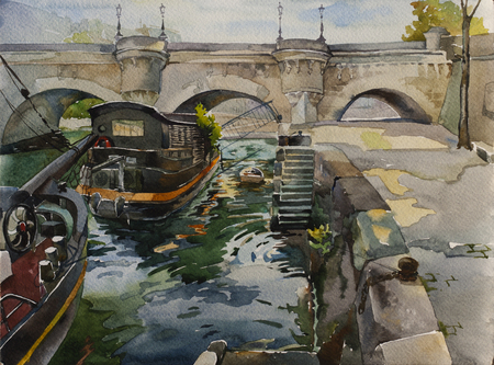 Pont Neuf in Paris with embankment and ships on the Sena river, original watercolor illustration France landscape
