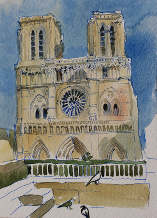 Notre Dame chirch fasade in downtown of Paris, origilal pen and watercolor illustration