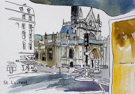 Vue de l'église gothique Saint-Laurent depuis la gare routière publique Dessin à l'encre avec aquarelle