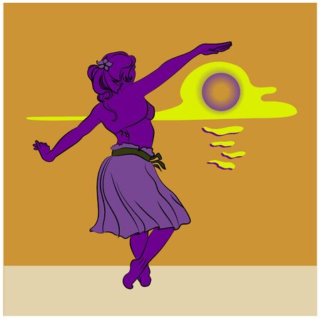 girl dancing on the beach plying with sun havaian style vector illustration