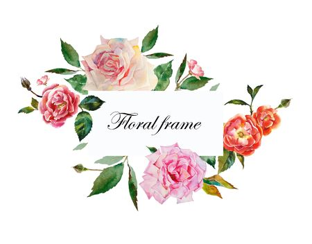 Watercolor roses rectangular frame for text from pink, white flowers with leaves and buds original illustration isolated on white background