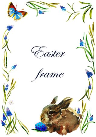 Spring Easter watercolor frame with rabbit, egg and butterfly, pattern for text on white background blue muscari flowers
