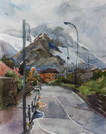 Rainy day in Colico town, Italy. View on rainy Alps from the downtown crossroad, urban artistic landscape Stock Photo