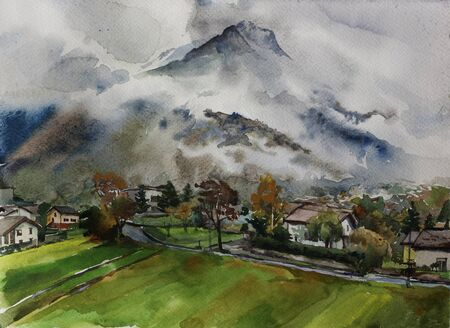 Rainy day in Colico town, Como lake Italy. View on foggy Alps and green valley of Colico in autumn day