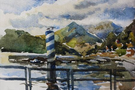 Watercolor original landscape with pier and boats docked at a marina on Lake Como in the harbor of the Como city, Northern Italy. Apls mountains are on the back. Reklamní fotografie - 138198275