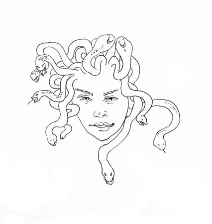Ink hand drawn sketch of young Medusa Gorgona head male or female, with angry snakes on her or his hair.