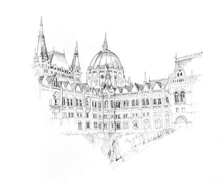 Hand drawn ink sketch of Budapests Parlament building, outline illustration on white background