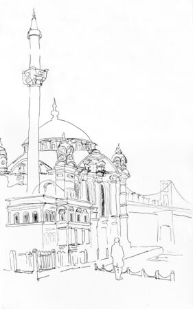 Hand drawn sketch of Ortakoy pier with the Buyuk Mecidiye Mosque, Istanbul, Turkey. Original outline illustration