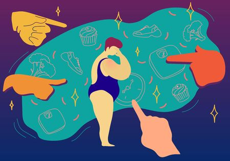 Fat shaming concept vector illustration. Sad plus size woman in swimwear had a mockery of society , showing her with hands what to eat and how to live