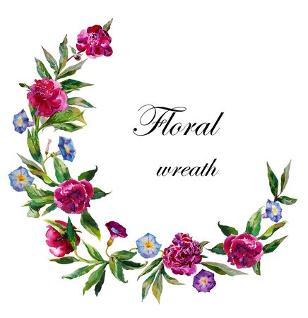watercolor peony wreath garland. Vibrant floral circle pattern with dark peonies and blue and purple convolvulus isolated on white background