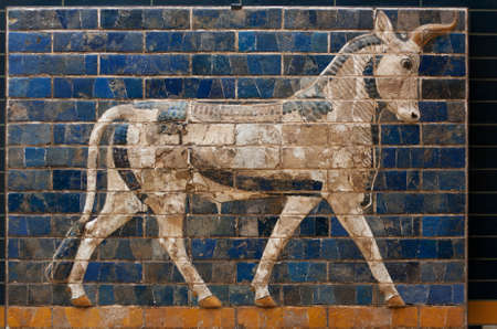 ISTANBUL, TURKEY - MARCH 16, 2014: Buffalo on Babylonian mosaic, fragment of the Ishtar Gate in Istanbul, Turkey Editorial